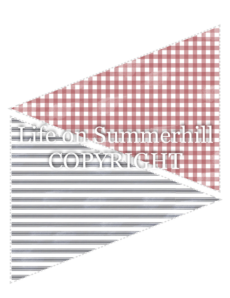 Pennant Banner Template gingham and ticking