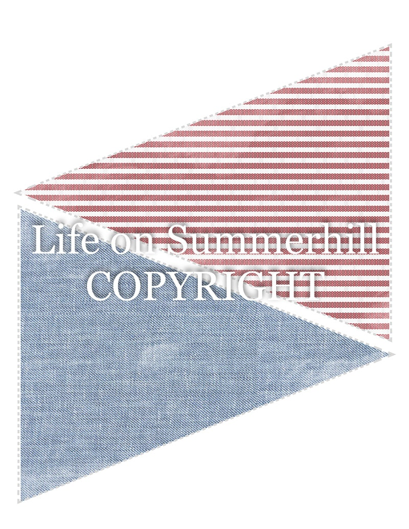 Pennant banner template red stripe seersucker and blue chambray