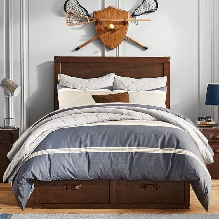 Guys Dorm Room with shoe and hat storage, lighting and more masculine colors like brown and blue