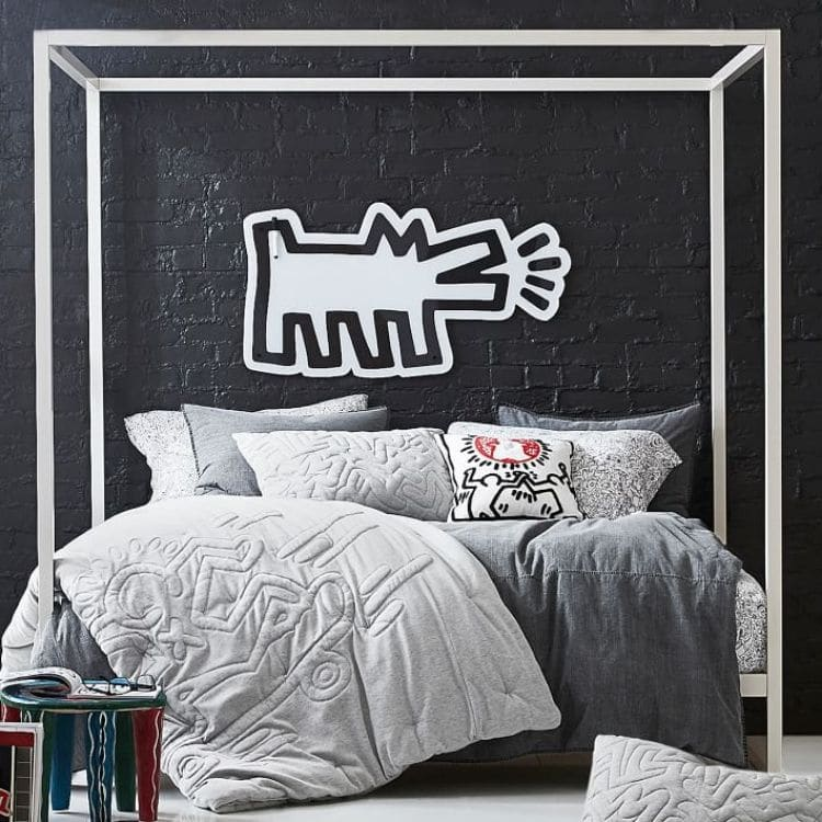 Guys Dorm Room with a Keith Haring Art inspired room