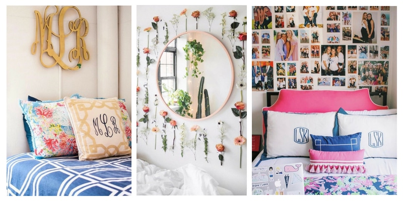 College Dorm Decor ideas using bright color, monogram, Lilly Pulitzer, flowers on the wall, pillows with tassels, pictures on the wall.