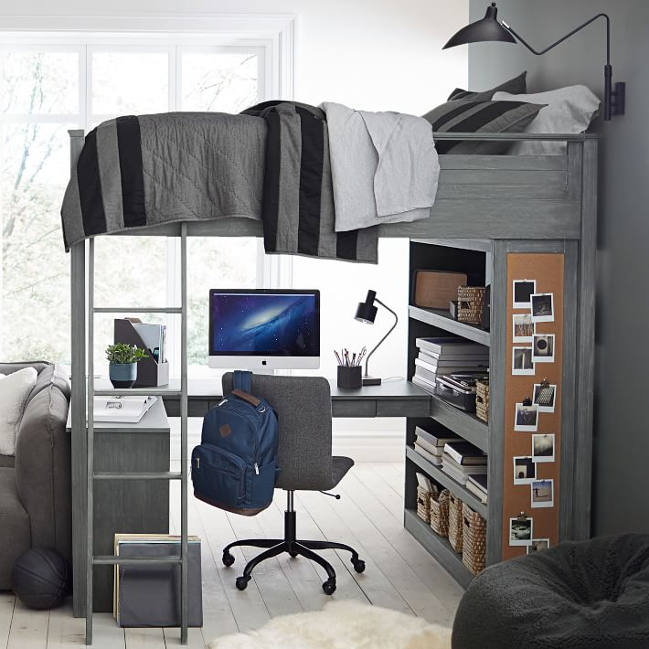Guys Dorm Room Pottery Barn Loft Desk Bed