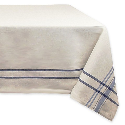 Garden party essentials french natural blue stripe tablecloth