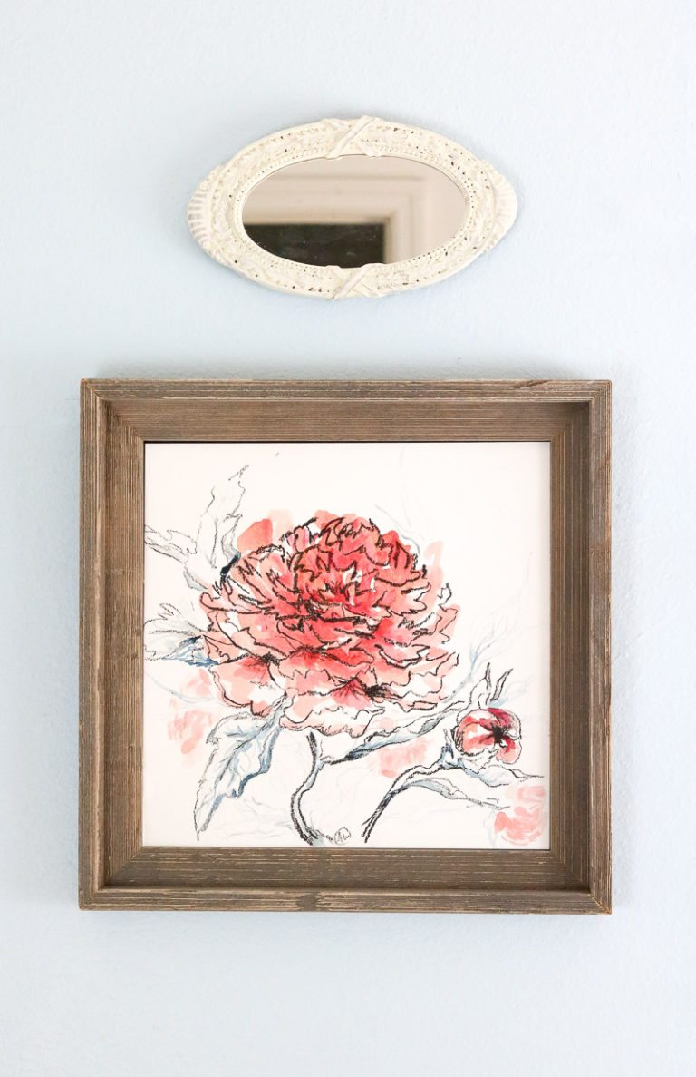 art of hanging art charcoal and ink peony original