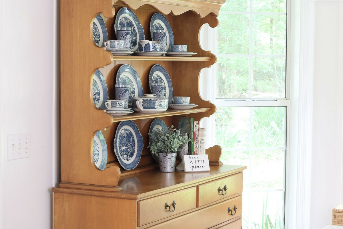 Storing And Displaying Vintage Dishes In A Farmhouse Hutch