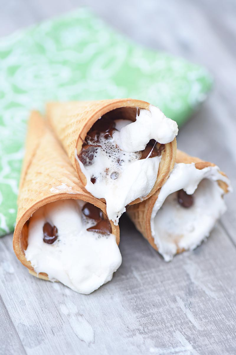 Campfire smores using sugar cones, marshmallows and chocolate chips