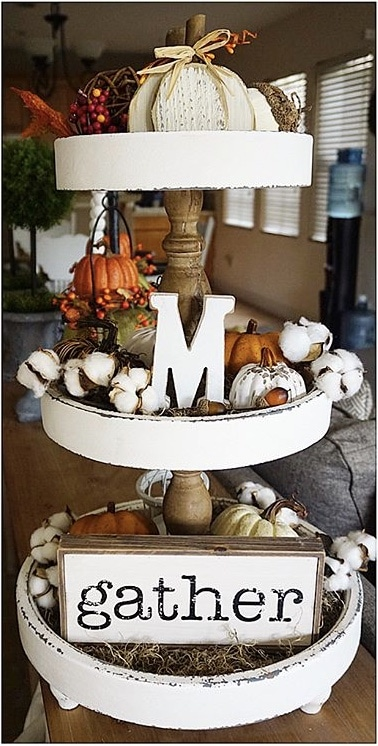 Fall Decor Crystyle Homestylin lovely cottage feeling white tiered tray filled with cotton, pumpkins, berries and a gather sign