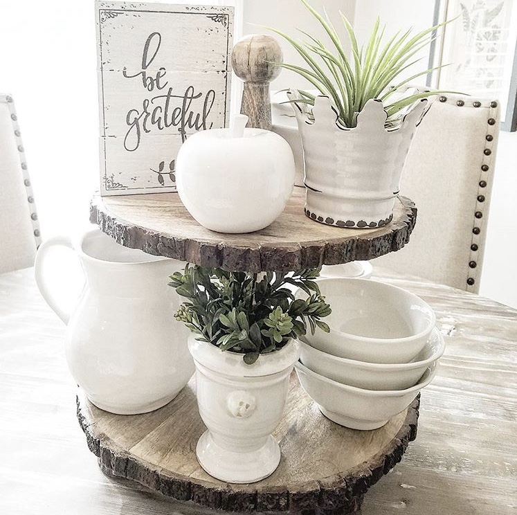 "Fall Decor rusted wood tiered tray by A Simply Styled Nest. A unique tray with two tiers. Each level is a beautiful cut of wood topped with all white accessories. A lovely soft white sign ""be grateful"", which apple and a few plants and dishes."