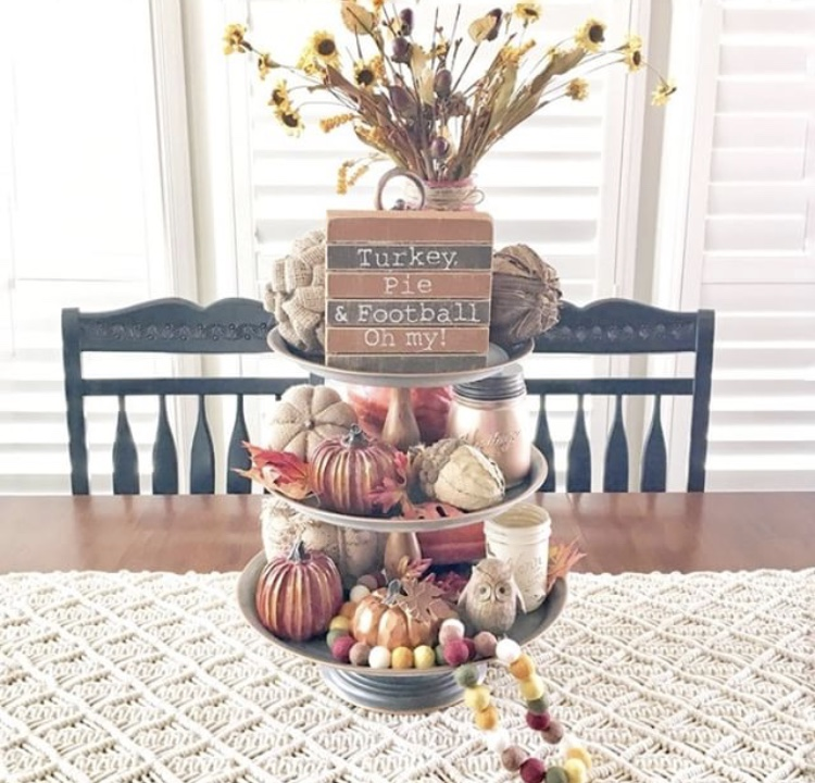 Fall Decor galvanized metal tiered tray by Stager Roz. Loads of ideas on this tray from pumpkins, acorns, felt beads, flowers, mason jars and best of all a sign reminding us what makes autumn time the best, Thanksgivings turkey, pie, football and more.