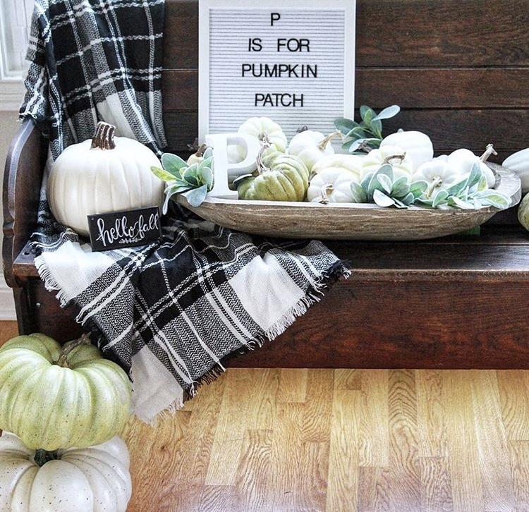 Decorating with dough bowls Filled with Pumpkins Placed on an Old Bench by Paisley Pear
