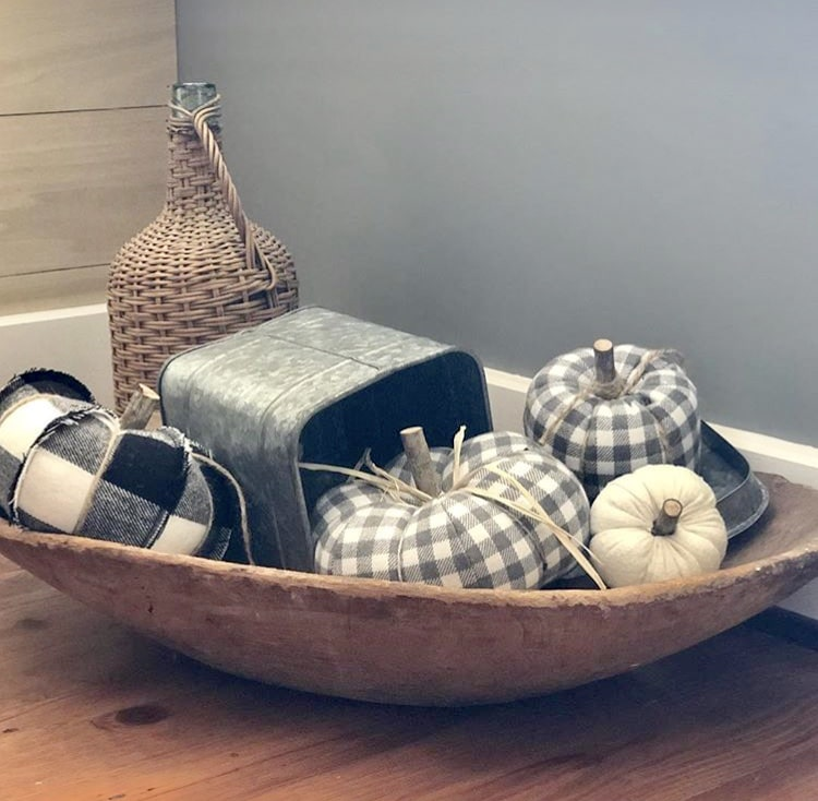 Decorating with dough bowls Filled with Buffalo Check Pumpkins by Jayde N Lane