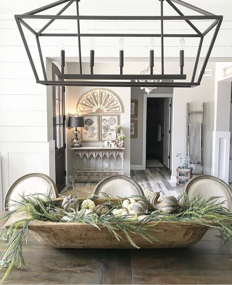 Decorating with dough bowls As a Dinning Table Centerpiece with Gourds and Greenery by My Blue Ga. Home