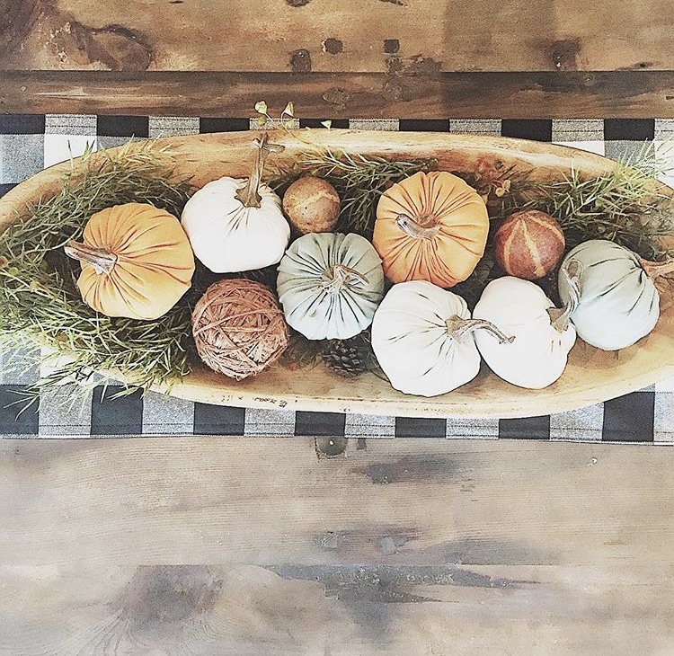 Decorating with dough bowls Filled with Fabric Pumpkins on Top of a Buffalo Plaid Runner