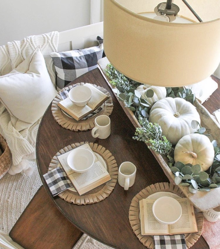 Decorating with dough bowls as a table centerpiece by Clare and Grace Designs