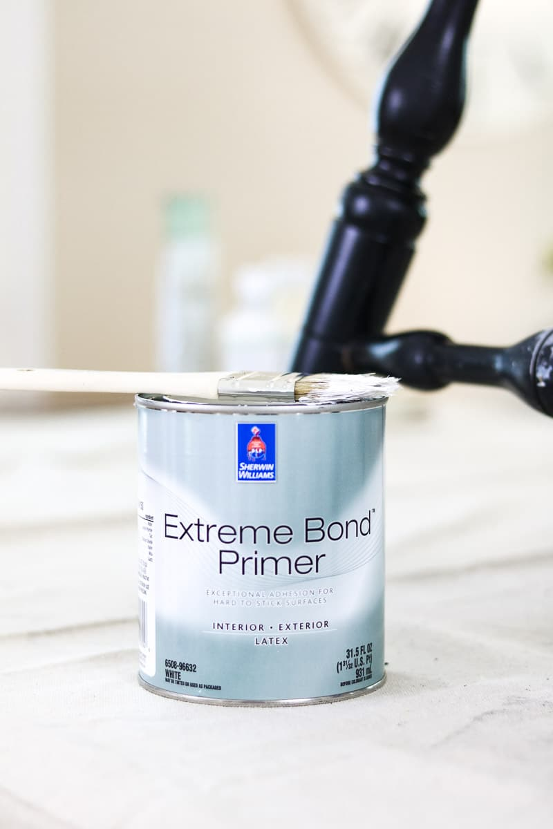 How to paint with milk paint over a painted chair using extreme bond primer by Sherwin Williams