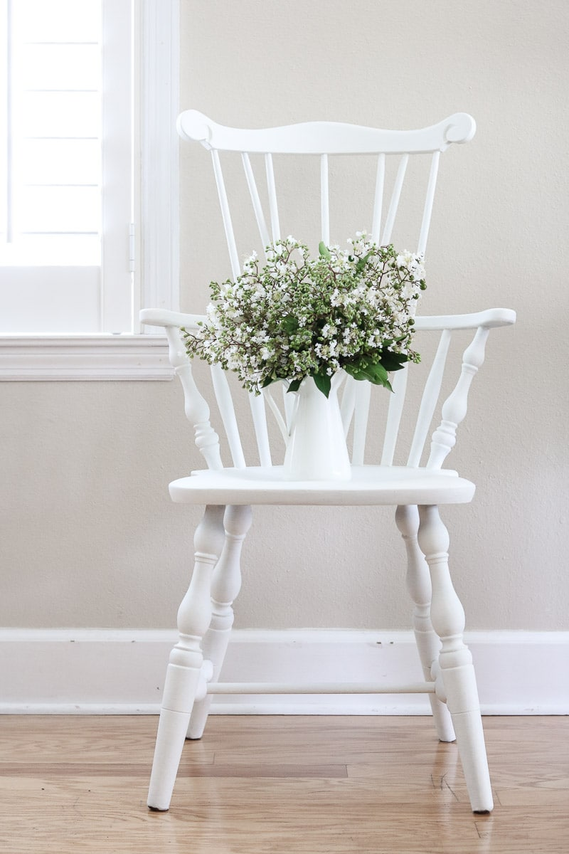 How to paint with milk paint revealing the finished beautiful ironstone white windsor chair using Miss Mustard Seed milk paint