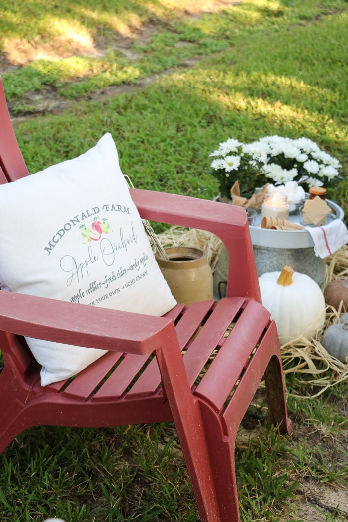 Outdoor fall decor and pillow