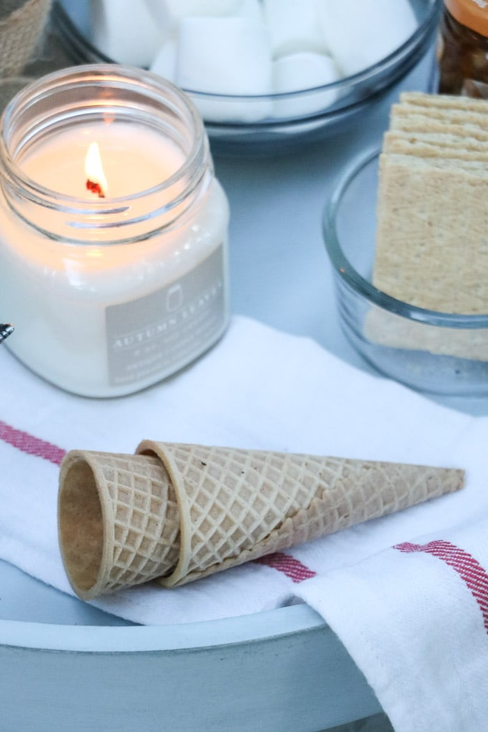Outdoor fall decor and serving smores using sugar cones