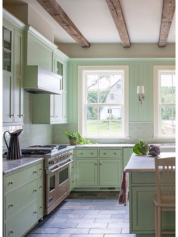 Benjamin Moore Color of the Year 2015 guilford green HC116 used in a kitchen on the cabinets