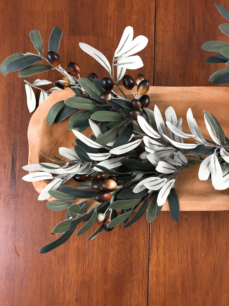 dough tray floral arrangement using olive branches