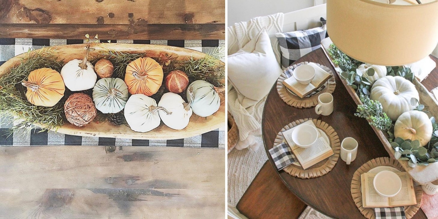 Decorating with dough bowls Filled with Pumpkins Placed on Dinning Table, Rust Bench or an Old Trunk by the Fireplace.