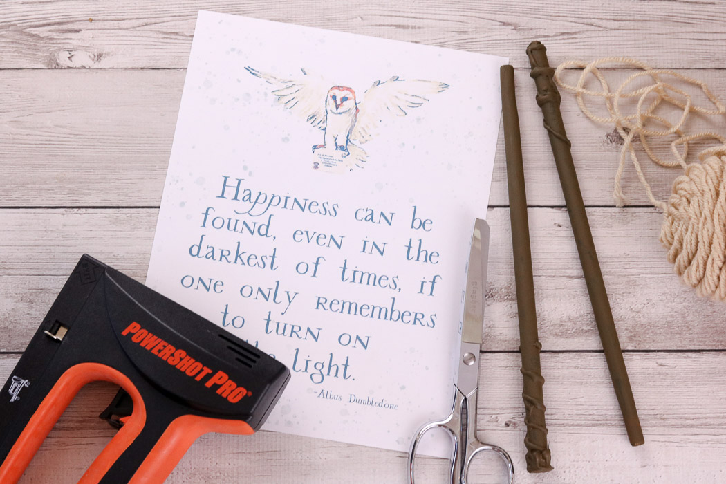 Halloween Decorations for a Harry Potter Celebration. Albus Dumbledore quote free printable and tools to make a wand hanging piece of art.