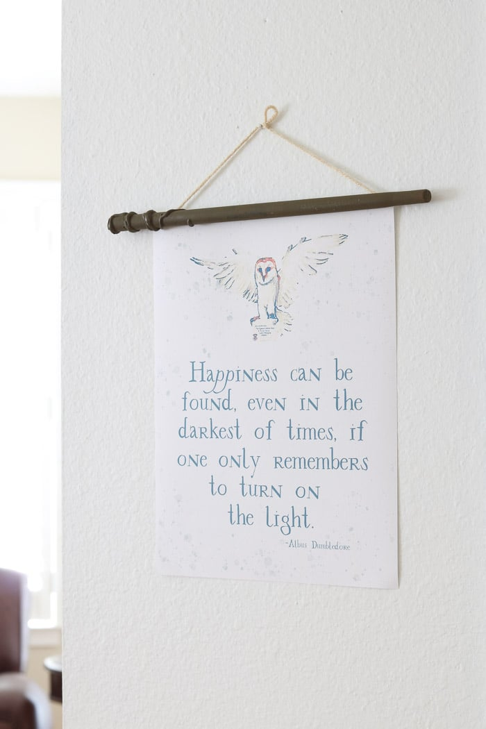 Harry Potter free printables wall hanging of Albus Dumbledore quote