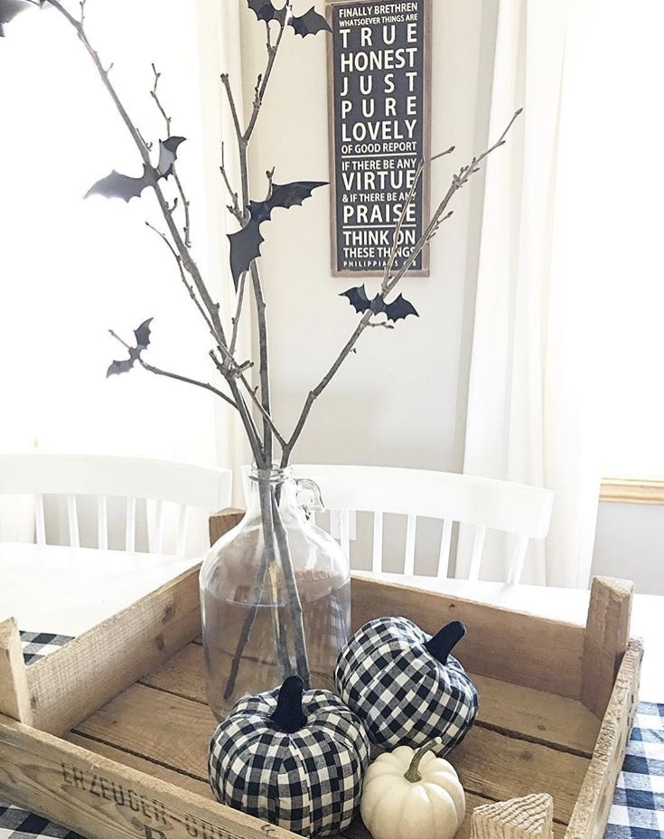 Classy country Halloween Decor from Farmhouse 165 in Wooden Crate with Glass Jug and Branches with Bats
