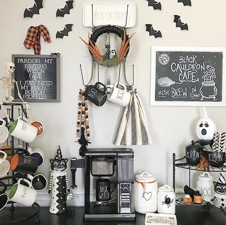 Classy country Halloween Decor from On Walden Home Coffee Station with Rae Dunn