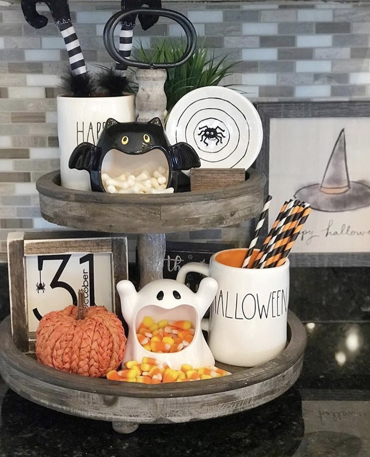 Classy country Halloween Decor from G G Luvs Dunn Rae Dunn and Witches Tiered Tray