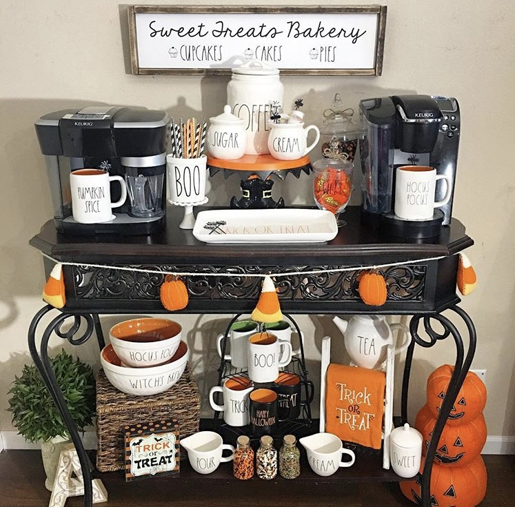 Classy country Halloween Decor from Audreys Rae Dunn Collection Coffee Station