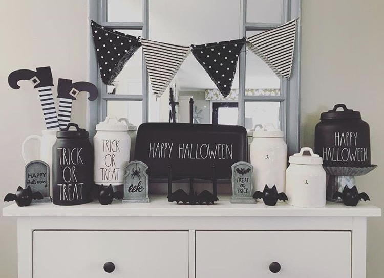 Classy country Halloween Decor from Mrs Goodsell Rae Dunn and Black & White