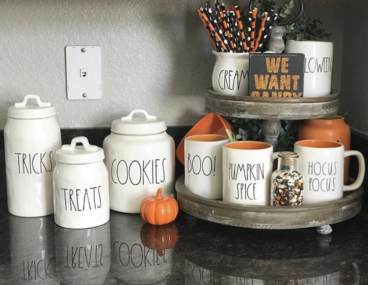 Classy country Halloween Decor from Oops I Dunn It Again Tiered Tray with Rae Dunn