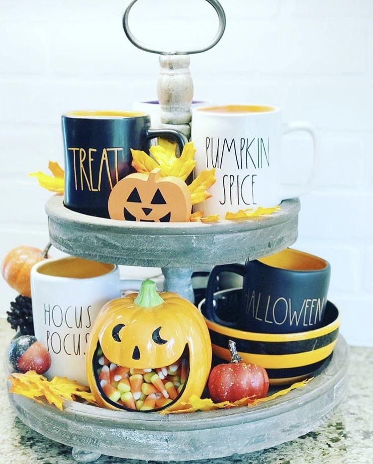 Classy country Halloween Decor from Pammy & Poppy Tiered Tray Rae Dunn