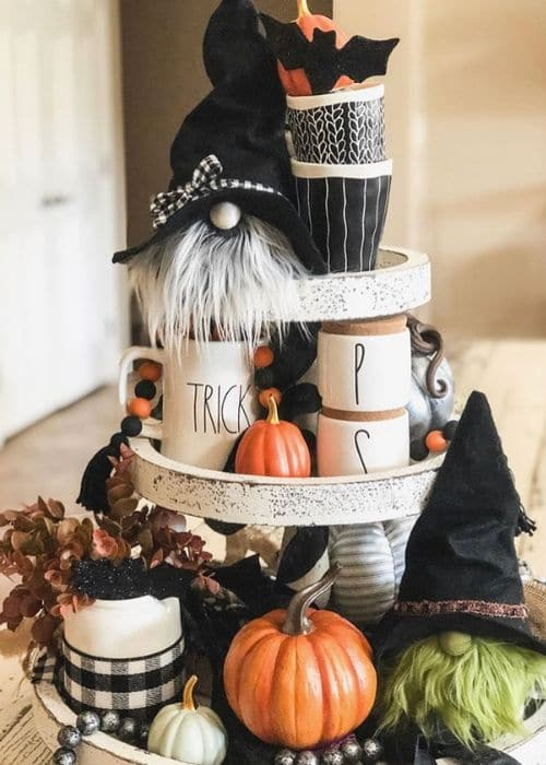 Country Halloween Decor by Me & Mama with a gnome filled Halloween three tiered tray, Rae Dunn mug, pumpkins and more.