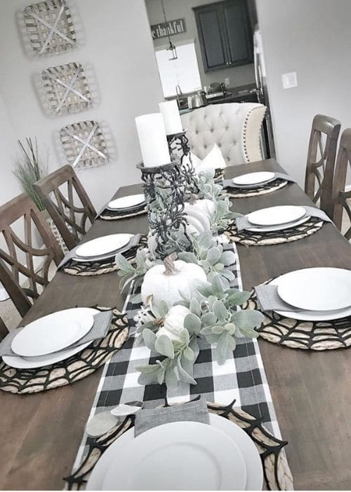 Country Halloween Decor by Bee Tree Design Co. with web chargers on a adorably decorated dining table