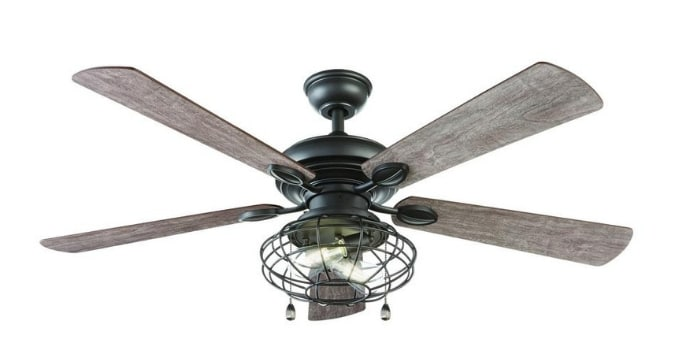 Farmhouse Ceiling Fan Ellard 52 in. LED Indoor Natural Iron Ceiling Fan, ceiling fan farmhouse