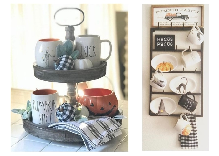 Classy country Halloween Decor from Love Beauty Farm Tiered Tray and Coffee Mug Rack