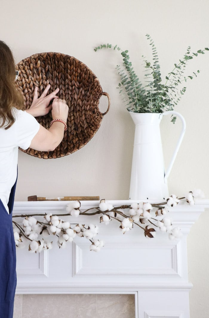 How to hang baskets on a wall for a DIY fall decor mantel design