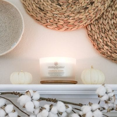 DIY FALL DECOR MANTEL USING BASKETS AND CHESAPEAKE BAY CANDLES