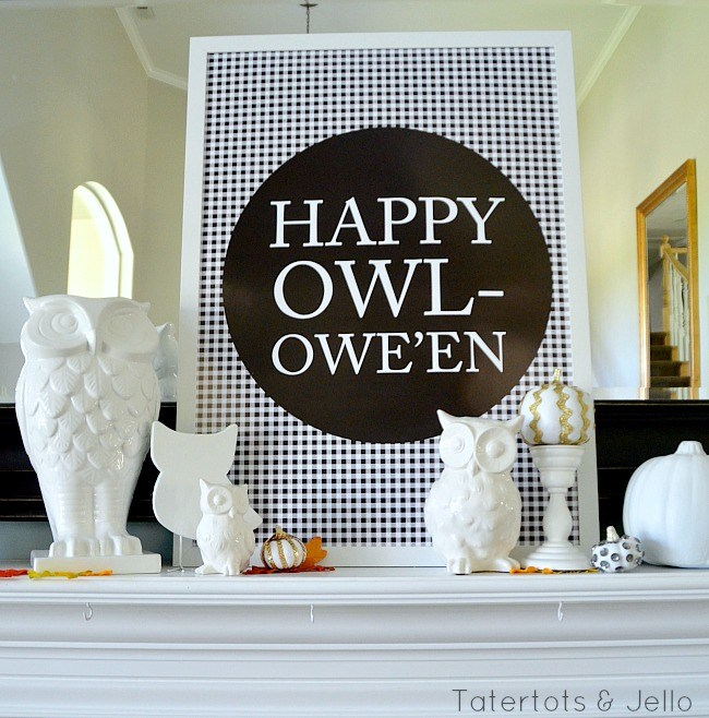 Halloween Free Printables by Tatertots & Jello with a buffalo checked owl wishes