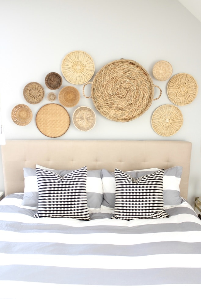 How to hang baskets on a wall by Simple Stylings about headboard