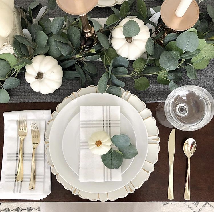 Thanksgiving Tablescapes by Husker Mamma with white pumpkins and eucalyptus