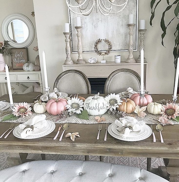 Thanksgiving Tablescapes by Stay at Home Decor with sunflowers and thankful pumpkins