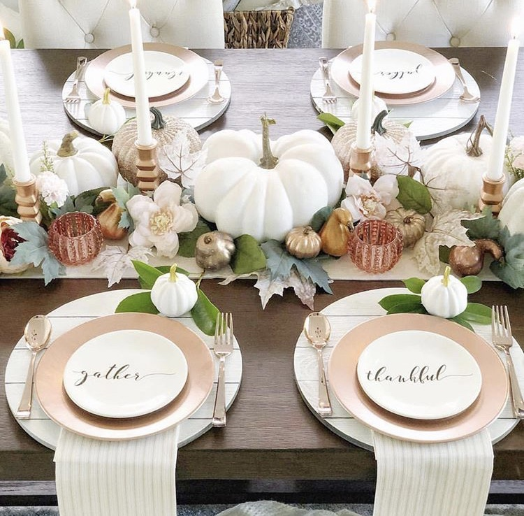 Thanksgiving Tablescapes by Taya DiCarlo with shiplap chargers and rose colored metals