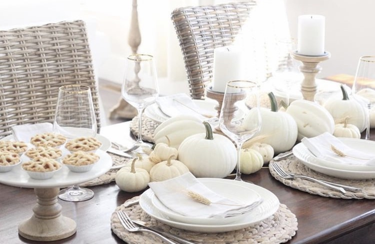 Thanksgiving Tablescapes by The Girl On Waverley with neutrals and white pumpkins and mini pies