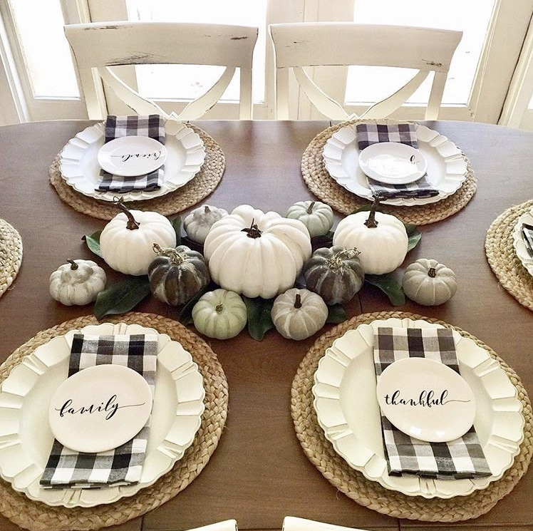 Thanksgiving Tablescapes by Twisted Cotton Farmhouse with buffalo check and pumpkins