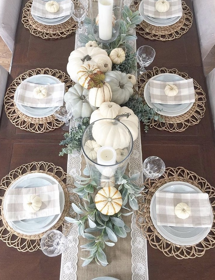 Fall Table Runner by Willow Bloom Home with burlap and lace