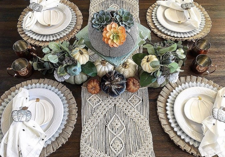 Fall Table Runner by B. Home Decor using macrame