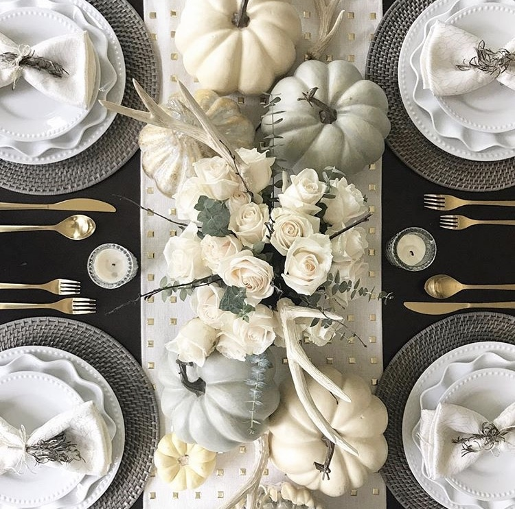 Fall Table Runner by Kristine Brick Interiors using cream with square gold embellishments